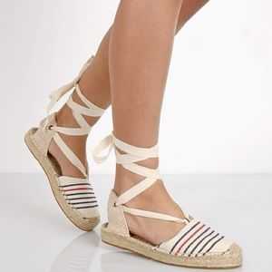 Soludos lace up striped espadrille sandal